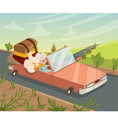 woman traveling by car funny cartoon character vector image vector image