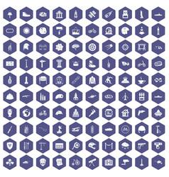 100 helmet icons hexagon purple vector