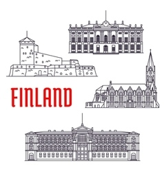Travel landmarks of finland and denmark icon vector