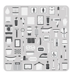 flat icons bathroom and toilet vector image