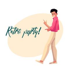 Retro disco party invitation dancing man in 1980s vector