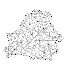 Map of belarus from polygonal black lines vector