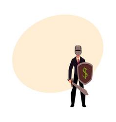 Businessman as knight in metal helmet holding vector
