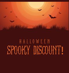 Halloween spooky sale background style vector
