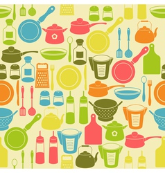 Seamless retro pattern with kitchen utensils vector