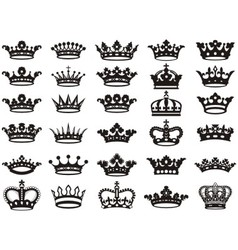 Silhouettes crowns set bw vector