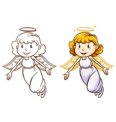 Sketches of angels in different colors vector