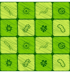 Seamless background with bacteria vector