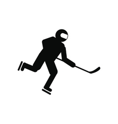 Hockey player black simple icon vector