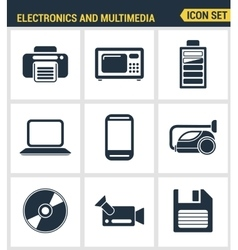 Icons set premium quality of home electronics and vector