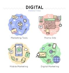 Digital marketing colored icon set vector