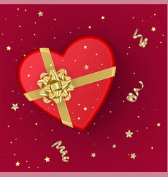 A realistic red gift box with shape of heart vector
