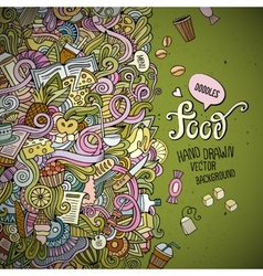 Abstract decorative doodles food background vector