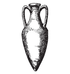 Amphora is a jar with two handles a narrow neck vector