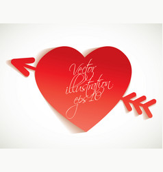 arrow and heart cut from paper vector image