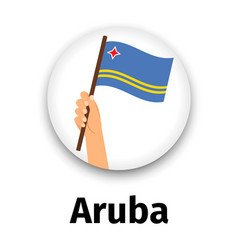 aruba flag in hand round icon vector image