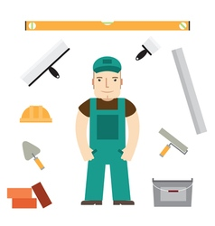 Builder and buildaing tools vector image