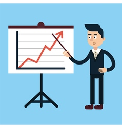 Businessman behind stand with chart vector