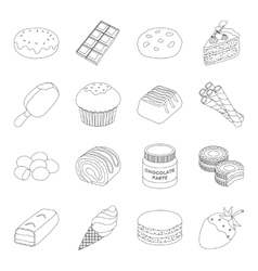 Chocolate desserts set icons in outline style big vector