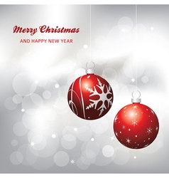 christmas card background red and silver vector image vector image
