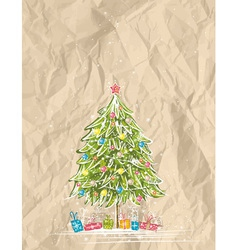 christmas tree over crumple background vector image vector image