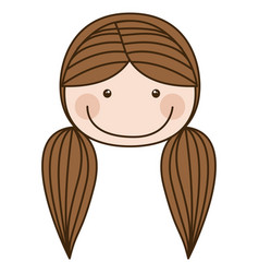 Colorful caricature front face girl with brown vector