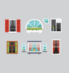 Different interior windows of various forms vector