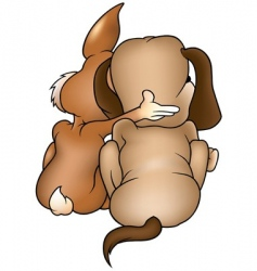 dog and rabbit vector image