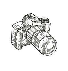 Dslr camera doodle art vector