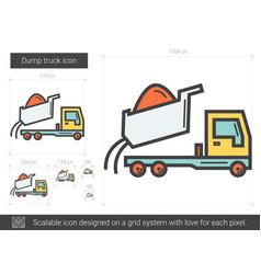Dump truck line icon vector