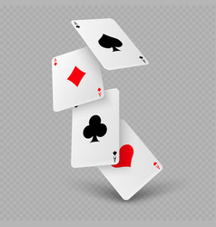 falling poker playing cards of aces vector image vector image