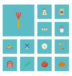 Flat icons cultivator sack gourd and other vector