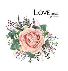 Floral bouquet with rose flower leaves herbs vector