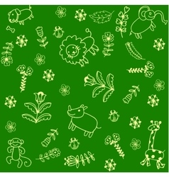 Funny animals set doodle art vector