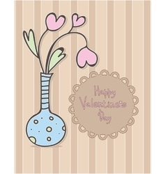 Happy valentines day design vase with hearts vector