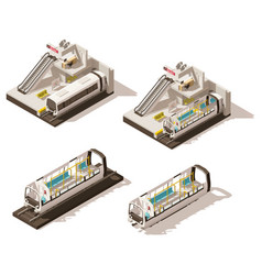 Isometric low poly subway station cutaway vector