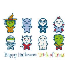 kids in halloween monsters costumes vector image vector image