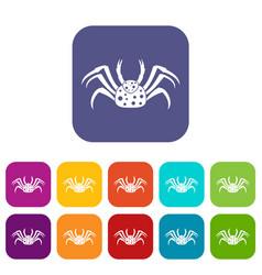 Live crab icons set flat vector