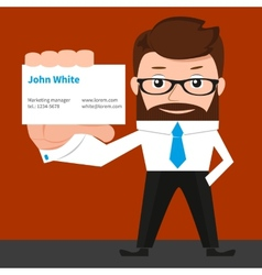 Lucky businessman is presenting a business card vector image