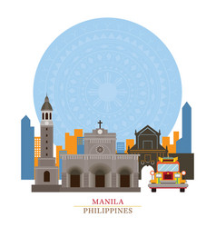 Manila philippines with decoration background vector