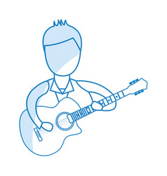Musician playing guitar avatar vector