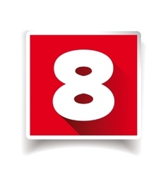 Number eight label or number icon vector