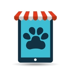 Online pet shop and paw vector