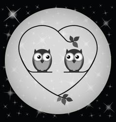 OWL HEART MOON vector image vector image