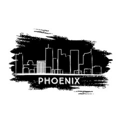 phoenix skyline silhouette hand drawn sketch vector image
