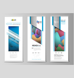 roll up banner stands flat geometric style vector image