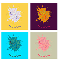 set of flat color map of moscow all objects are vector image vector image