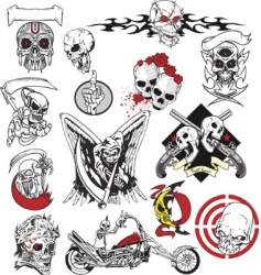skull tattoo set vector image vector image