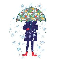 Snow storm and person with umbrella - cold weather vector