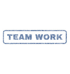 Team work textile stamp vector